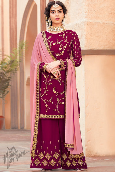 Jam Purple and Pink Georgette Palazzo Suit