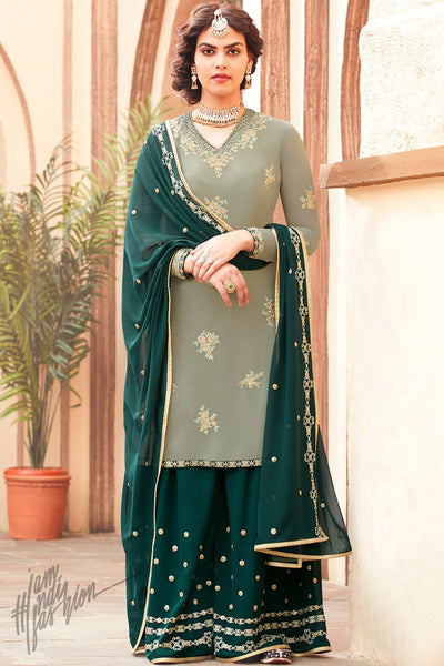 Pastel and Forest Green Georgette Palazzo Suit