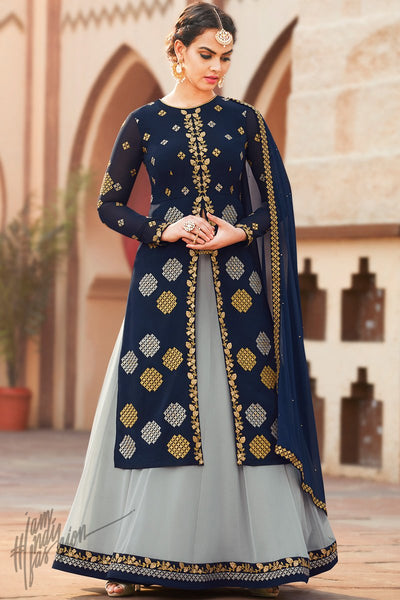 Blue and Gray Georgette Lehenga Style Suit