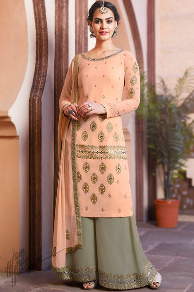 Peach and Sage Green Georgette Palazzo Suit