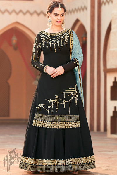 Black and Light Blue Georgette Lehenga Style Suit