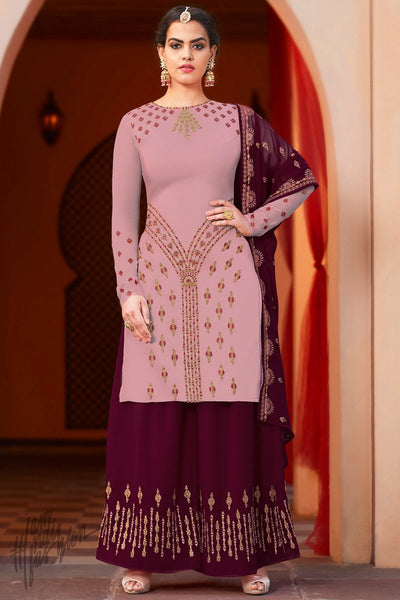 Mauve and Wine Georgette Palazzo Suit