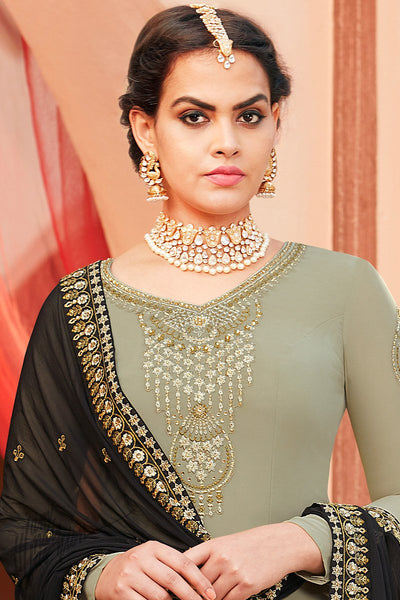 Sage and Dark Mehandi Green Georgette Palazzo Suit