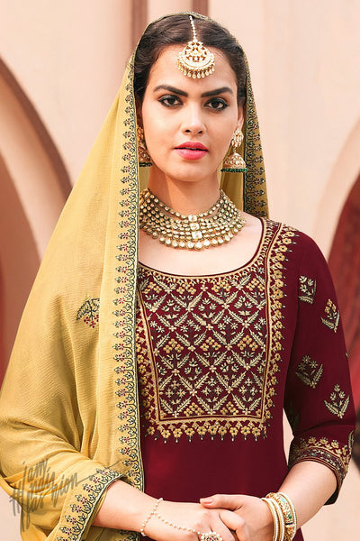 Maroon and Pastel Yellow Georgette Palazzo Suit