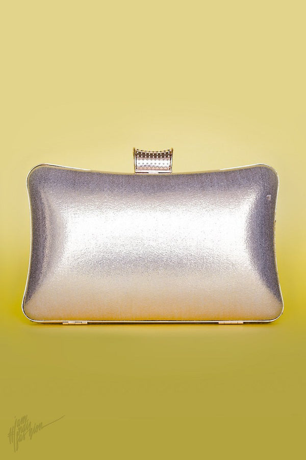 Indi Fashion Raabta Silver Stone and Moti Studded Metail Clutch