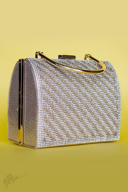 Indi Fashion Nadia Silver and Bronze Stone Studded Metal Clutch