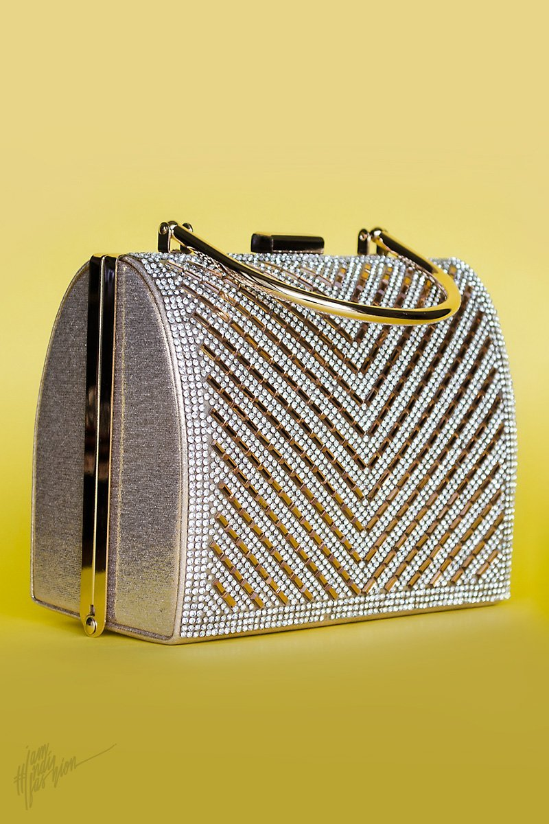 Indi Fashion Amana Silver and Bronze Stone and Mirror Studded Metal Clutch