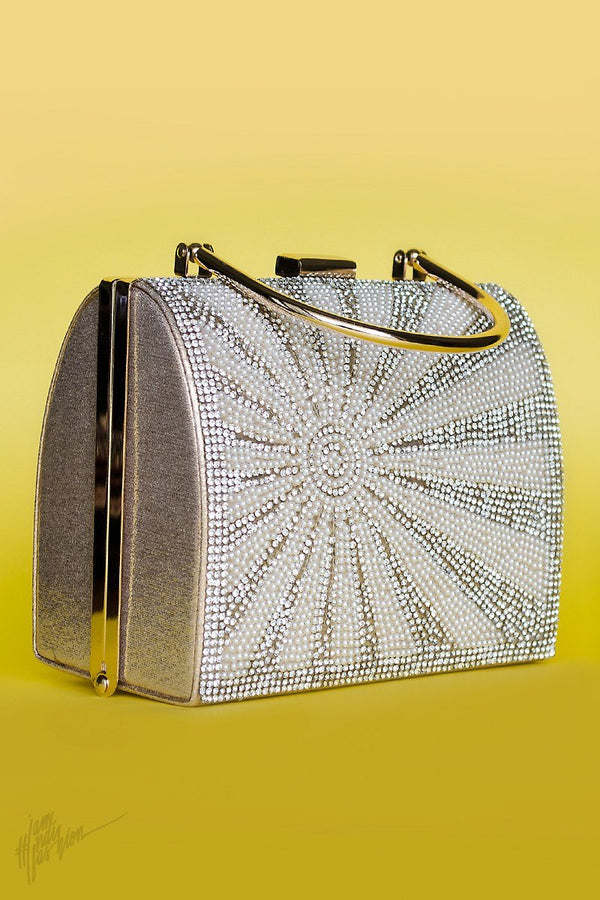 Indi Fashion Yashna Silver Stone and Moti Studded Metail Clutch