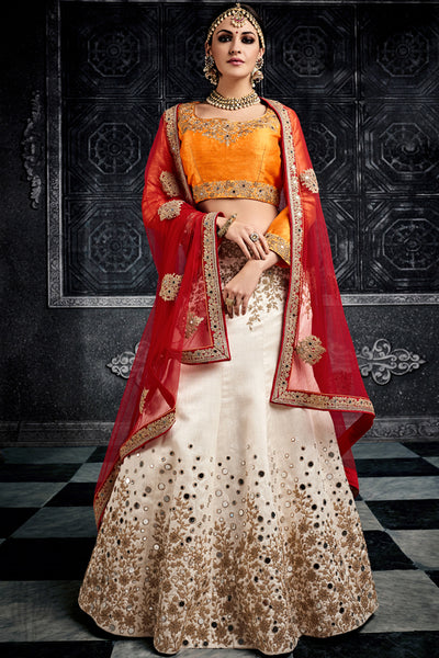 Orange White and Red Art Silk Party Wear lehenga Set