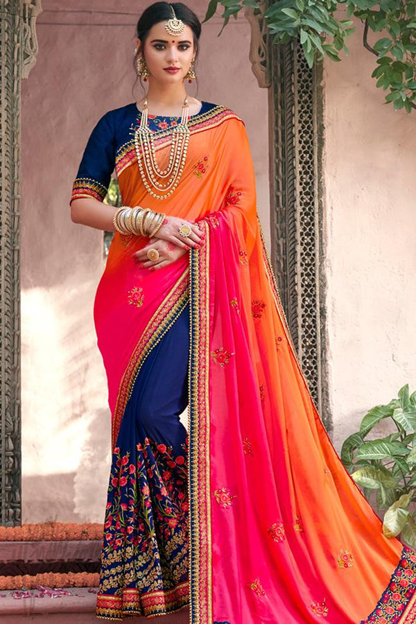 Indi Fashion Dual Tone Orange Pink and Blue Half and Half Art Silk Party Wear Saree