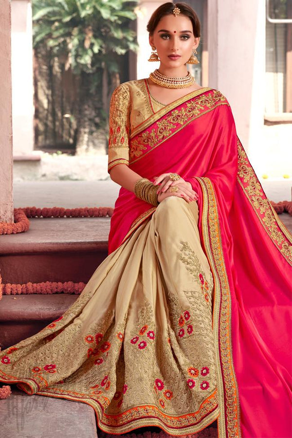 Indi Fashion Pink and Beige Half and Half Art Silk Party Wear Saree