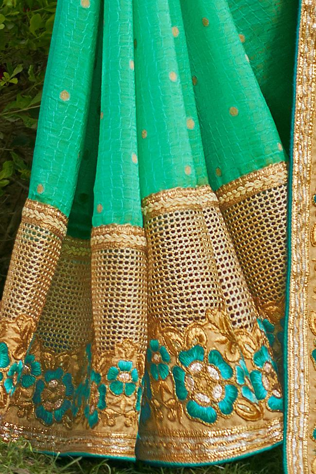Indi Fashion Sea Green and Beige Art Silk Party Wear Saree