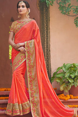 Indi Fashion Orange and Beige Art Silk Party Wear Saree