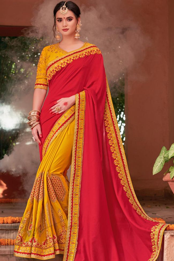Indi Fashion Red and Mustard Yellow Half and Half Art Silk Party Wear Saree