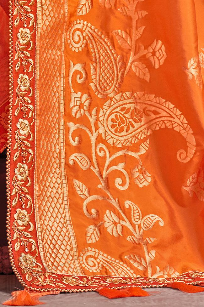 Indi Fashion Orange Half and Half Art Silk Party Wear Saree