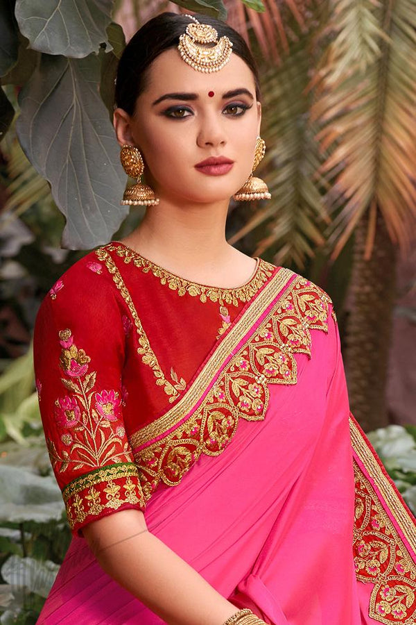 Indi Fashion Magenta and Red Art Silk Party Wear Saree
