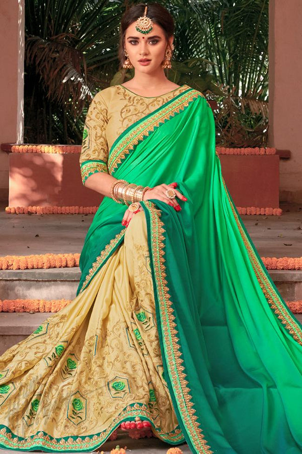 Indi Fashion Dual Tone Green and Beige Half and Half Art Silk Party Wear Saree