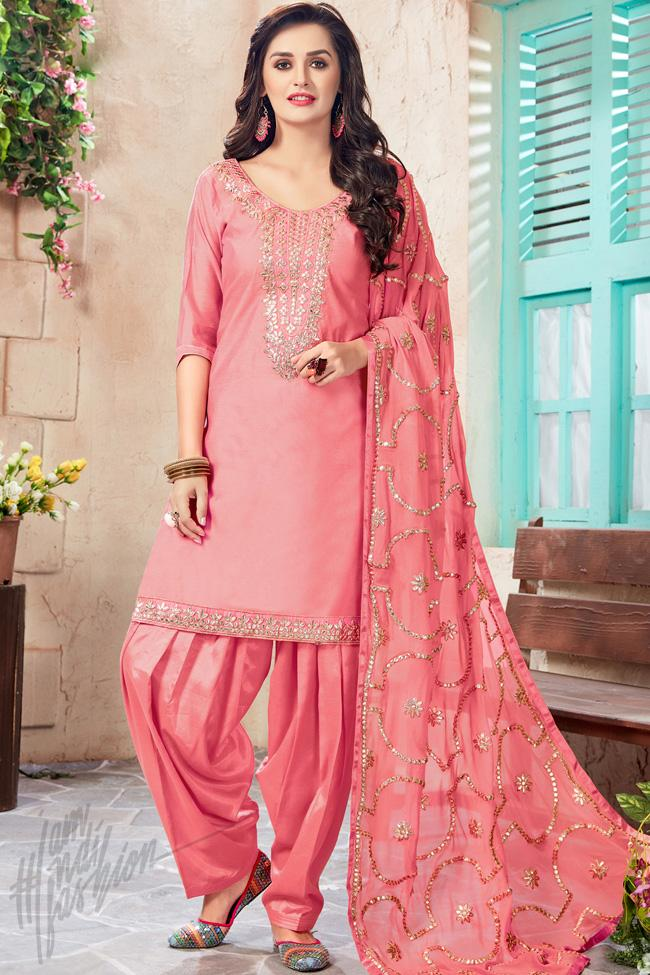 Indi Fashion Pink Chanderi Gotta Patti Party Wear Suit