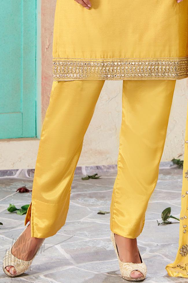 Indi Fashion Yellow Chanderi Gotta Patti Party Wear Suit