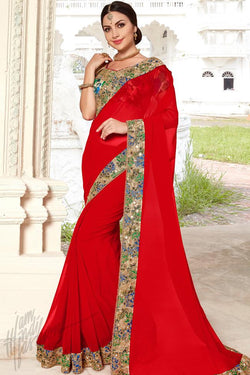 Indi Fashion Red Georgette and Bhagalpuri Saree