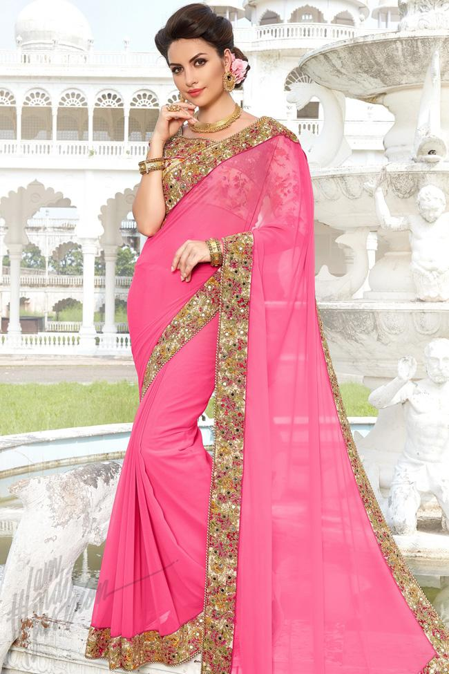 Indi Fashion Pink Georgette and Bhagalpuri Saree