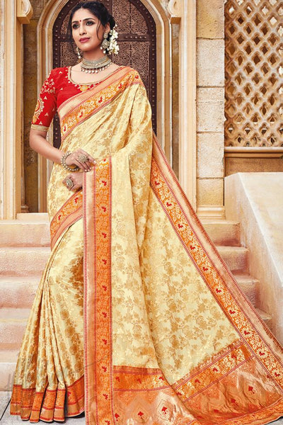 Indi Fashion Cream and Red Silk Jacquard Party Wear Saree