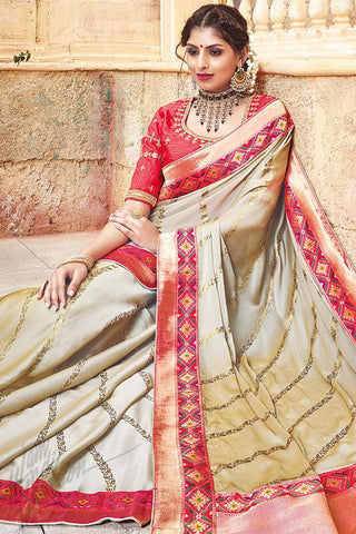 Indi Fashion Beige and Pink Silk Jacquard Party Wear Saree