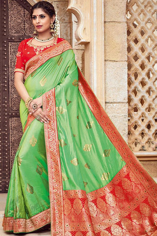 Indi Fashion Green and Red Silk Jacquard Party Wear Saree