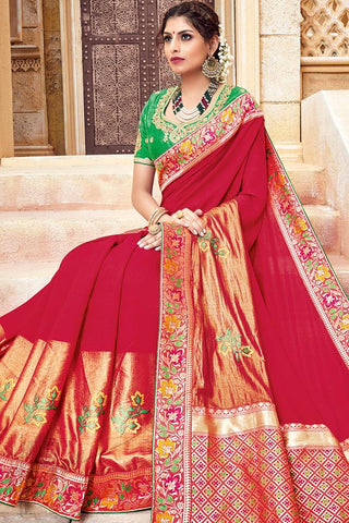Indi Fashion Red and Green Silk Jacquard Party Wear Saree