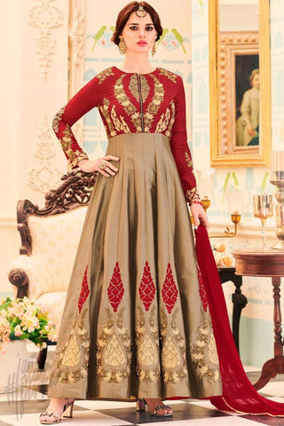 Indi Fashion Red and Brown Georgette and Silk Gown Style Ankle Length Party Wear Suit
