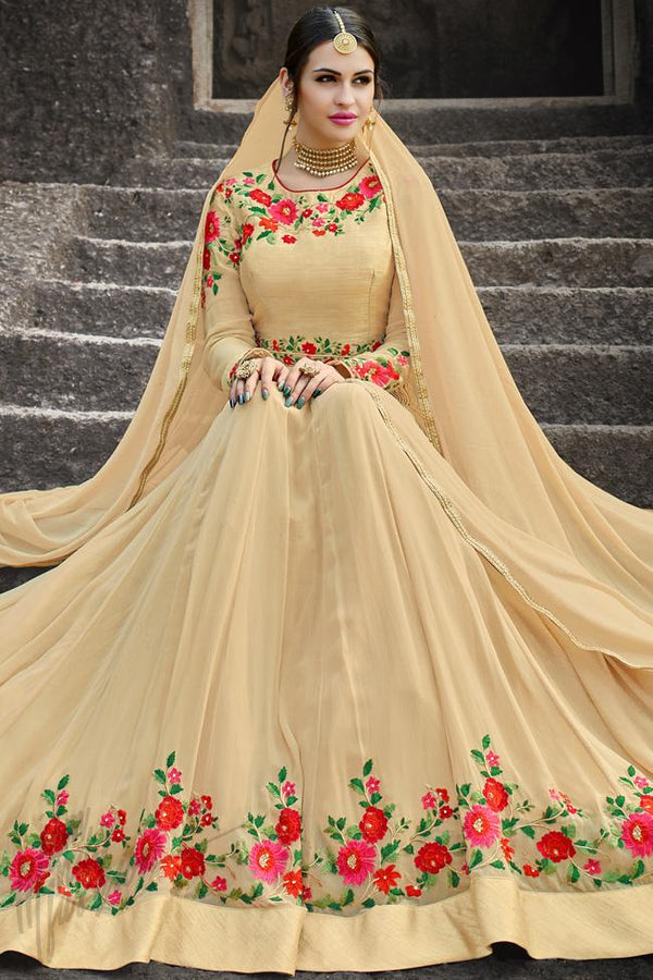 Indi Fashion Beige Georgette Gown Style Party Wear Suit