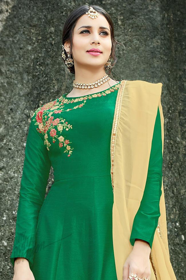 Indi Fashion Green and Beige Silk Gown Style Party Wear Suit