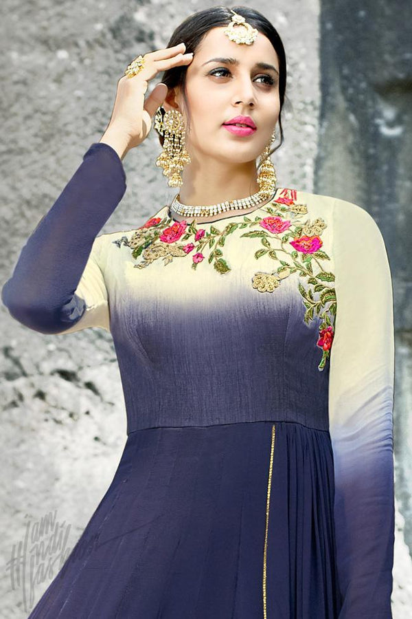 Indi Fashion Blue and Cream Georgette Gown Style Party Wear Suit