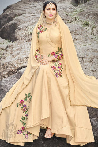 Indi Fashion Cream Silk Gown Style Party Wear Suit