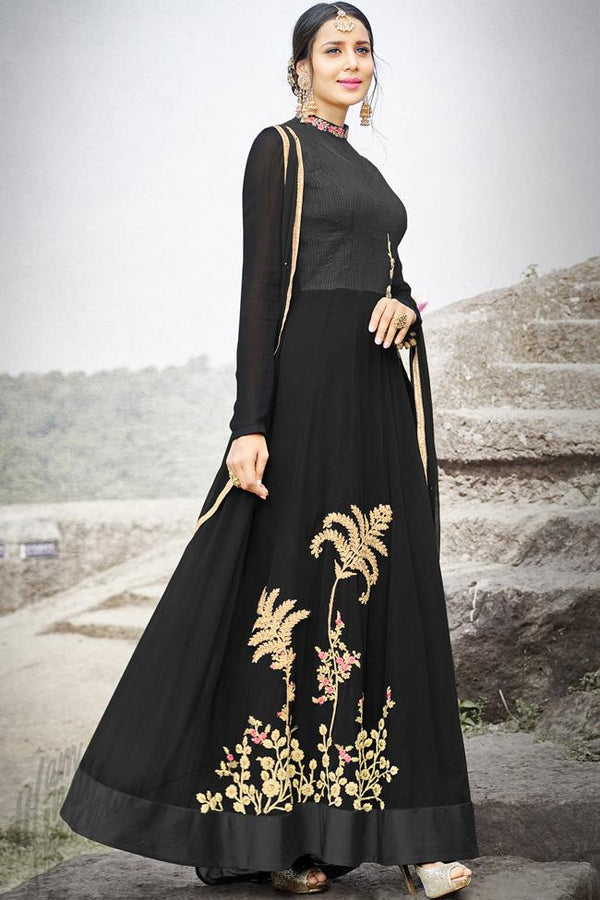 Indi Fashion Black Silk Gown Style Party Wear Suit