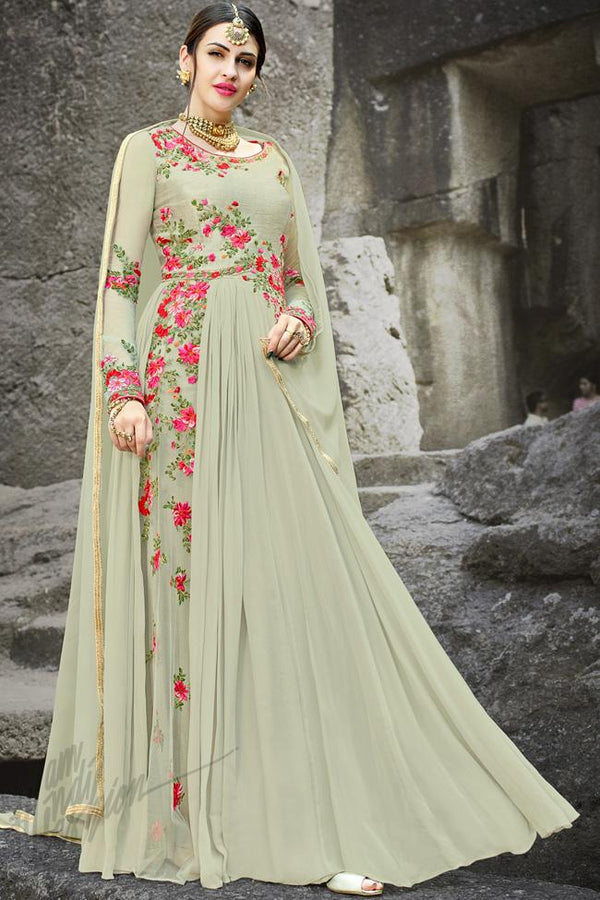 Indi Fashion Pale Green Georgette Gown Style Party Wear Suit