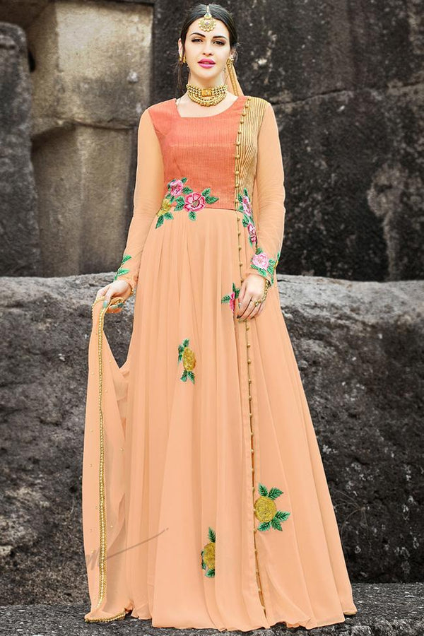Indi Fashion Peach Georgette Gown Style Party Wear Suit