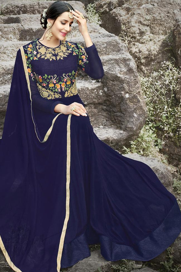 Indi Fashion Blue Georgette and Silk Gown Style Party Wear Suit