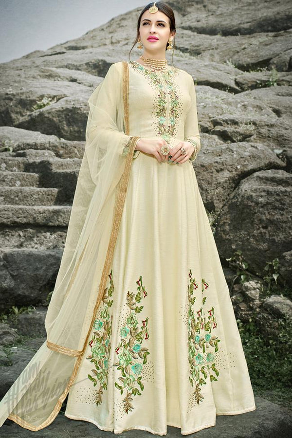 Indi Fashion Off White Silk Gown Style Party Wear Suit