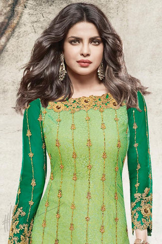 Indi Fashion Green Net Ankle Length Party Wear Suit