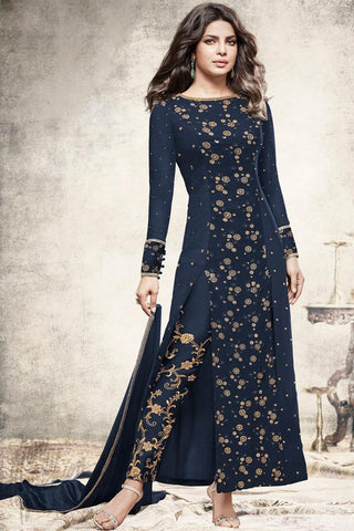 Indi Fashion Navy Blue Georgette Ankle Length Party Wear Suit