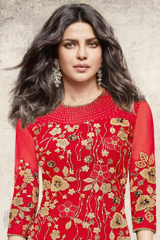 Indi Fashion Red Net Calf Length Party Wear Suit