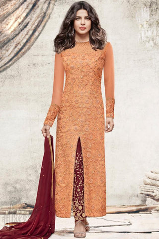 Indi Fashion Orange and Maroon Net Ankle Length Party Wear Suit