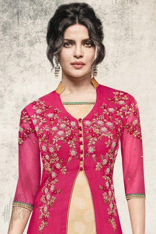 Indi Fashion Red and Yellow Georgette Jacket Style Suit