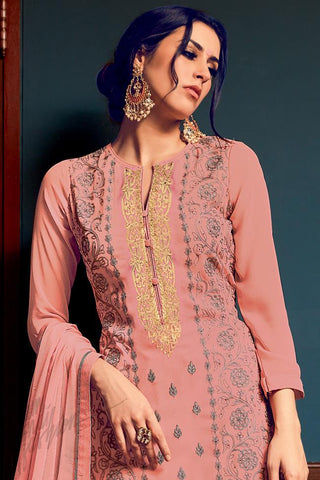 Indi Fashion Peach Georgette Party Wear Straight Suit
