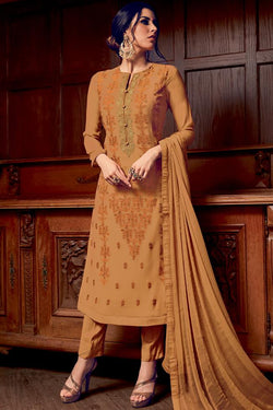 Indi Fashion Mustard Georgette Party Wear Straight Suit