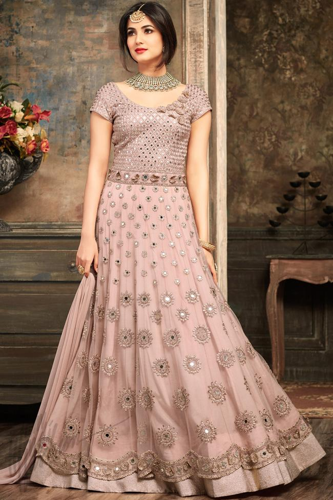 Soft Onion Pink Net Floor Length Party Wear Suit - indi.fashion