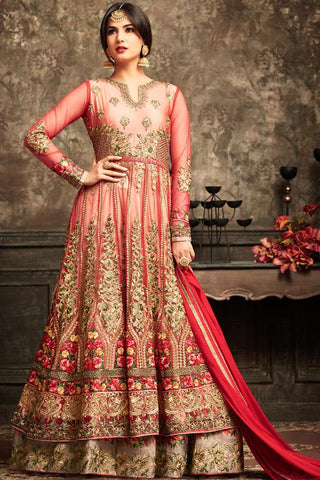 Indi Fashion Red Net Floor Length Party Wear Suit