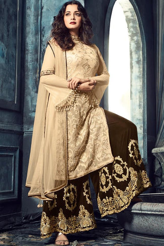 Indi Fashion Beige and Brown Georgette Knee Length Sharara Suit