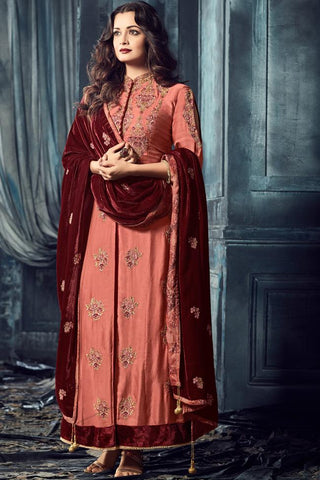Indi Fashion Pink and Maroon Raw Silk Ankle Length Party Wear Suit